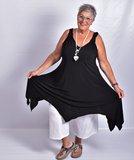 Tuniek/jurk, zwart, asymmetrisch, mouwloos, v-hals voor en achter,_