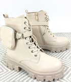 Boots, beige hoge rubberen zool, rits en vetersluiting, imitatie leder,  band met leuk tasjes_