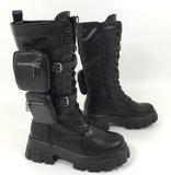 Boots/laars, hoog, zwart, met hoge rubberen zool, rits en vetersluiting, band met twee tasjes._