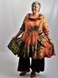 Tuniek, la Bass rood/oranje/zwart/groen/geel, tie-dye, grote A-lijn, asymmetrisch, _