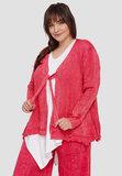 Vest, rood, stonewashed,  lange mouw, striksluiting, kraag A-lijn_