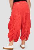 Zouavebroek, Kekoo, koraalrood, brede elastische tailleband, grote zakken, stonewashed_