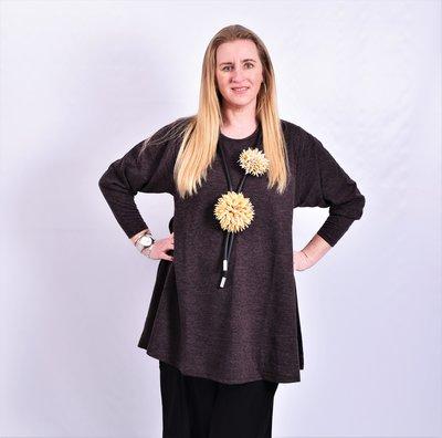 A-lijn shirt, ThomB, aubergine/zwart gemêleerd, lange mouw, ronde hals