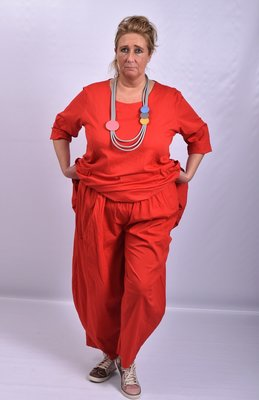 ..Broek, rood, Moonshine, ballonmodel met kleine zakken