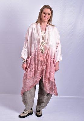 Lange blouse/tuniek, roze, Tie-dye, ronde hals met waterval hals en zakken, Made in Italy
