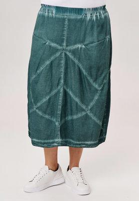 ..Rok Kekoo, emeraldgroen stone washed, rekbare taille, mooie zakken op taillehoogte, diagonale naden