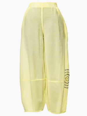 Broek, wijd model, Kekoo, geel,  met handgeschilderde print