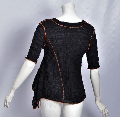 ..Tuniek, elastisch, zwart met oranje stiksels, Kekoo