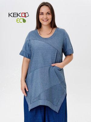 tuniek, jeansblauw, korte mouw, ronde hals, splitten aan zijkant, Kekoo