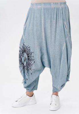 ..Harembroek, blauw met print, rekbare taille , steekzakken,