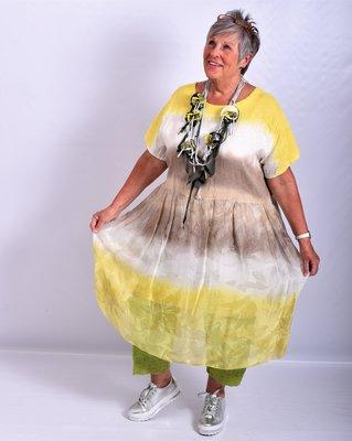 ..Jurk/tuniek geel/taupe/offwhite, A-lijn, Made in Italy, korte mouw, tie&day, linnen zijde