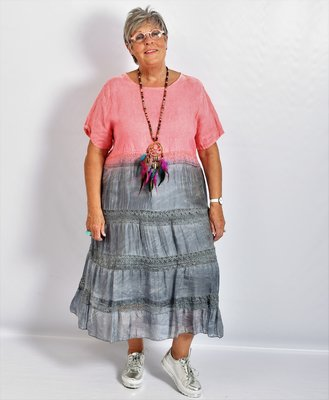 Jurk, roze/antraciet, A-lijn, Made in Italy, korte mouw, linnen zijde met kant.