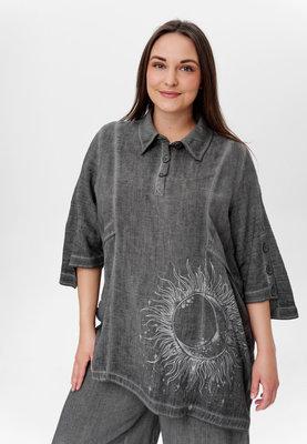 ..Blouse/tuniek, Kekoo antraciet, asymmetrisch met grote print