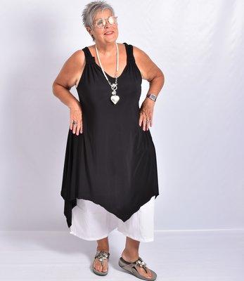 Tuniek/jurk, zwart, asymmetrisch, mouwloos, v-hals voor en achter,