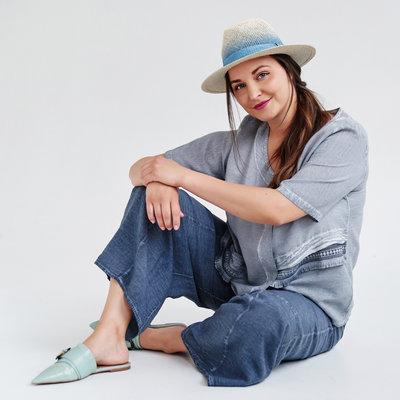 ,,Broek, vaal blauw, wijd model, Kekoo, elastische taille, steekzakken