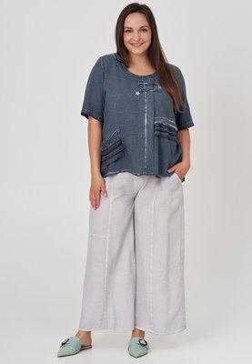 Broek, vaal grijs, wijd model, Kekoo, elastische taille, steekzakken