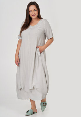 Jurk, ballonmodel, Kekoo, grijs washed out, steekzakken op voorpand, band onderaan de jurk, A-lijn