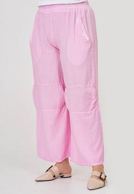 Broek, Kekoo, roze, washed out, rekbare taille, twee steekzakken, doorgestikte naden op voorpand