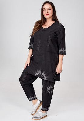 ..Tuniek/jurk Kekoo, zwart tie-dye, stretch.