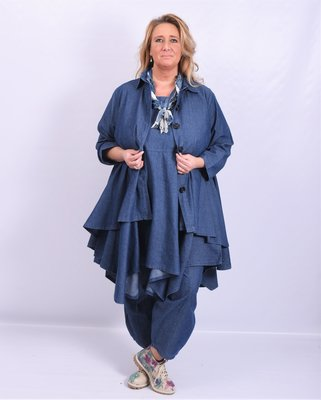 .,Jas/ blouse La Bass, jeansblauw, kraag, Grote A-lijn, knoopsluiting