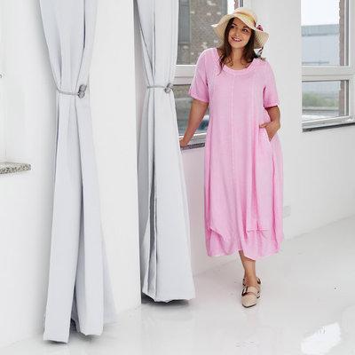 Jurk, ballonmodel, Kekoo, roze washed out, steekzakken op voorpand, band onderaan de jurk, A-lijn