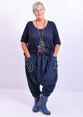 Zouavebroek La-Bass, jeansblauw, zakken op taillehoogte met gerafelde details, rekbare taille.