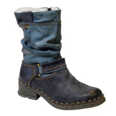 Laarsje, leder zwart/blauw met grijs en  gesp en een rits