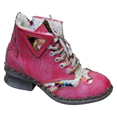 Leuke leren boots, rood/oud roze met fantasie print en teddy voering.