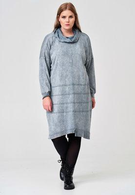 Jurk, gebreid, Kekoo grijs stone washed, met naar buiten gestikte naden, lange mouw en col