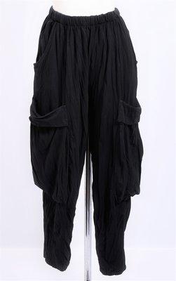 Ballonbroek zwart met grote opgezette zakken, rekbare taille
