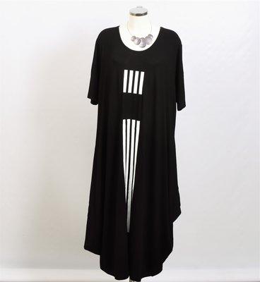 Jurk, zwart met streepprint, ballonmodel, ronde hals, korte mouw