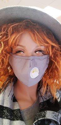 Mondkapje, grijs wasbaar, met wit adem ventiel, verstelbaar, katoenen mondmasker