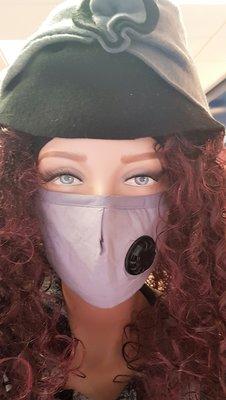 Mondkapje, paars/grijs wasbaar, met zwart adem ventiel, verstelbaar, katoenen mondmasker