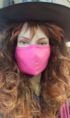 Mondkapje, roze, wasbaar, verstelbare oorlus, katoenen mondmasker.