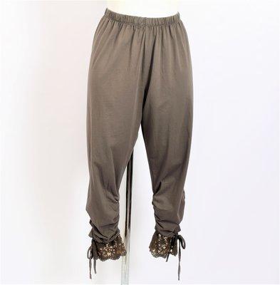 Legging. Super mooie taupe kleurige legging met kant.