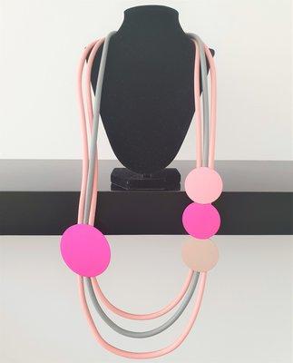 rubberen ketting, grijs/roze, meerdere snoeren met rondjes
