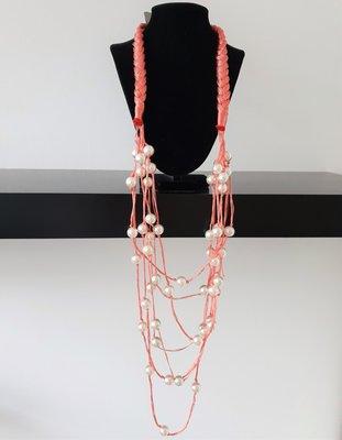 ketting, roze, stof, met kralen