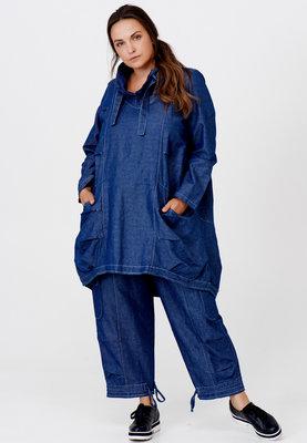 Jeansjurk/ tuniek, jeansblauw, rond toelopend, mooie opstaande kraag met  knoopsluiting,Kekoo