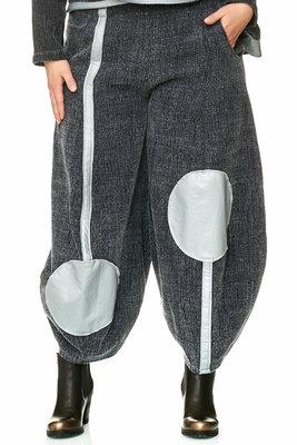 .. Broek, Kekoo exclusive broek, grijs met zilverkleurige lederlook details.