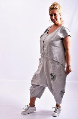 Jumpsuit, Kekoo, grijs met print, washed out, kapmouwtjes, ronde hals, zouavemodel,