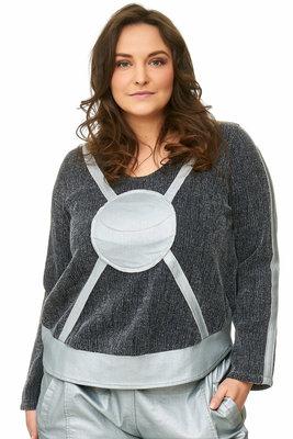 Korte sweater / tuniek  zilver / grijs  met rond zakje ,Kekoo exclusive