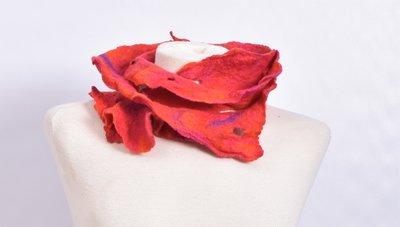 Sjaal, rood/oranje/paars, vilt, handgemaakt