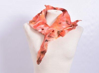 Sjaal, oranje/roze, vilt, handgemaakt