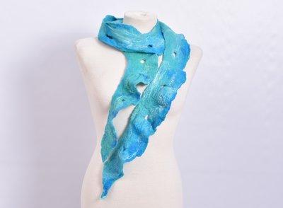 Sjaal, blauw, vilt, handgemaakt