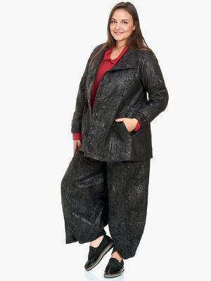 7/8e jas Kekoo zwarte jeans met geperst katoen dat op leder lijkt, asymmetrisch met blinde ritssluiting