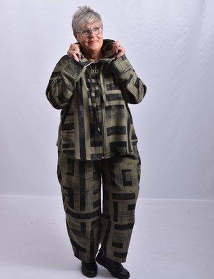 Jasje/ vestje, groen met print, Kekoo, opstaande kraag met ritssluiting en koord, originele Kekoo ritssluiting