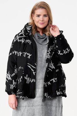Jas kort, zwart met print, deelbare ritssluiting,  grote zakken, capuchon