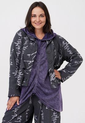 Jasje/ blouse, antraciet met print Kekoo, knoopsluiting, rolkraag en ingestikte plooitjes voor en achter