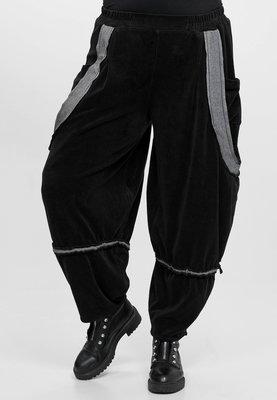 Broek Kekoo zwart grote zakken voor, 2 soorten stof fluweel/katoen, rekbare taille