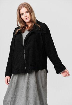Jasje/ vestje, zwart, gekreukeld stof, Kekoo, opstaande kraag met ritssluiting en koord, originele Kekoo ritssluiting